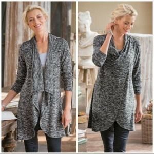 Soft Surroundings Grey Marl Convertible Sweater PL